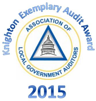August, 2015: Recognized With The 2015 Knighton Exemplary Award For  National Audit Excellence (ALGA)