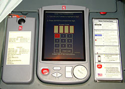 Close up of an accessible voting unit