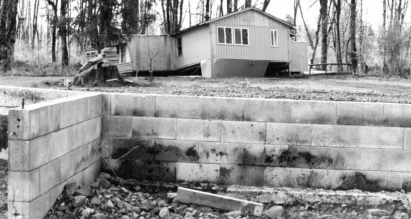 ​ Home swept off its foundation during the February 1996 flood.
