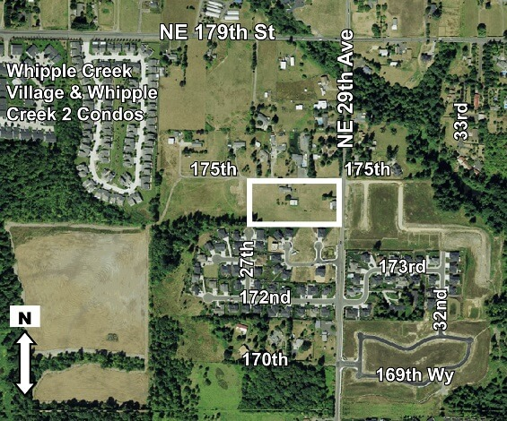 Aerial photo of the site for Kozy Kamp Neighborhood Park.