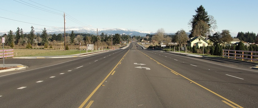 Photo of nearly completed Northeast 119th Street, east of Northeast 72nd Avenue.