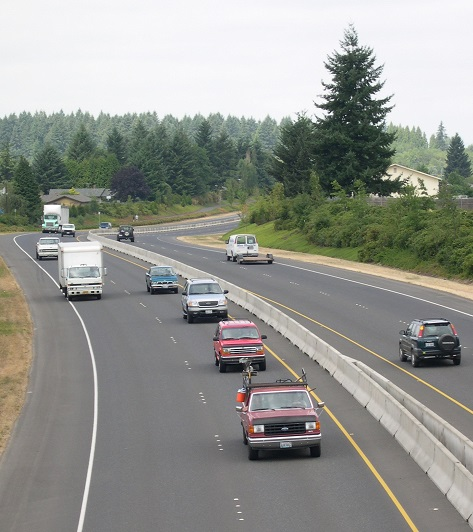 Traffic on Padden Parkway.