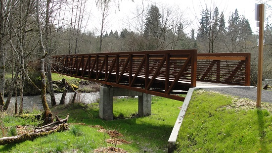 Pedestrian bridge across Salmon Creek between Pleasant Valley Community Park and Washington State University Vancouver.