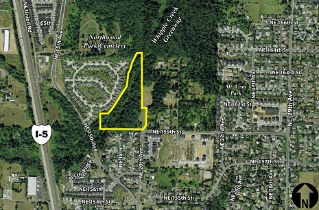 Aerial photo of site for Salmon Creek Community Club Neighborhood Park.