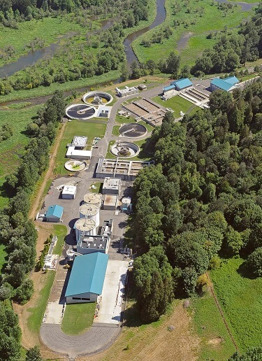 Aerial photo of Salmon Creek Wastewater Treatment Plant.