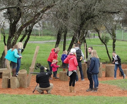 "Children try out one of the ""nature play"" areas."