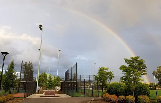 ​​​​Rainbow over Luke Jensen Sports Park.