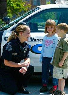Police Woman and Kids
