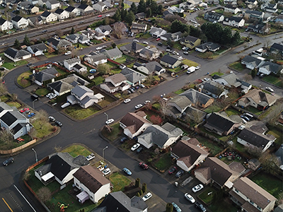 Aerial view of Clark County neighborhood
