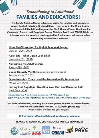 Family Training Series Calendar