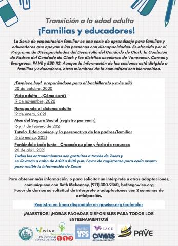 Family Training Series Calendar-Spanish